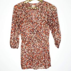 Mossimo Sheer Floral Print Popover Top